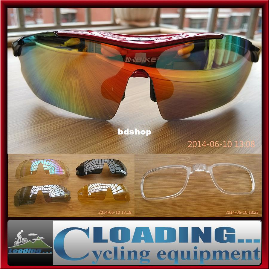 Wholesale-407-2014 new 5 lens cycling eyewear polarized spectacles myopic frame for outdoor driver sunglasses UV protect goggles black blue