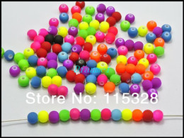 Wholesale Fluorescent Beads - Free Shipping 500pcs Pick Color Matte Fluorescent Neon Color Beads Acrylic Round Beads 8mm