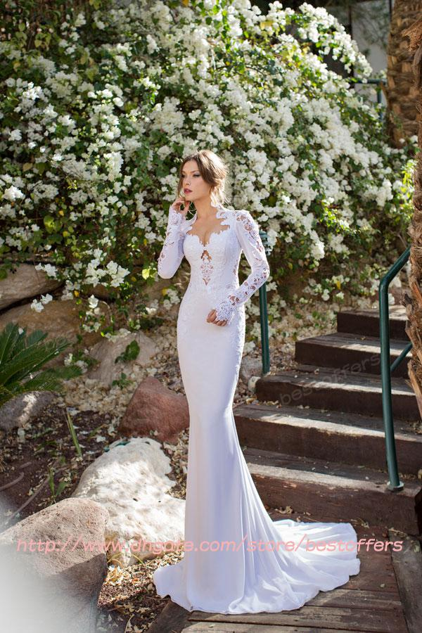 5aa6dc1d Mermaid Wedding Dresses Queen Anne Long Sleeve Embroidery Lace Pearl  Crystal Sheer Hollow/Backless/Open Back Chapel Trail Bridal Gown JV7081  Wedding Dress ...