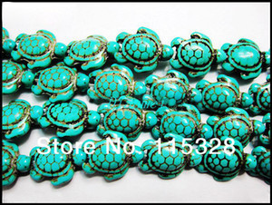 Free Shipping New Hot 7 stands Vintage Oval Blue Howlite Turquoise Carved Turtle Spacer Beads 14mm x 14mm G6322 jewelry making DIY