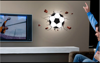 Wholesale Wholesale Football Lamps - 2014 New Brazil Football Led Night Light 220V 3D Wall Sticker Lamp   DIY Light control induction Wallpaper Night Light