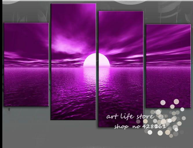 High Quality 2018 4 Panel Wall Art Seascape Purple Sunset Picture Oil Painting On Canvas  Ornament Glass Paintings Abstract For Home Decor From Xiaoweng123, ...