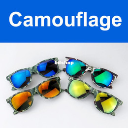 Wholesale Glass Mirror Coating - Wholesale-407-Vintage Coating Sunglass Camouflage Men Multi Color Mirror Glasses Female Sport Outdoor Fun Cycling Driving Fishing Eyewear