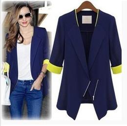 Wholesale Brand Women Blazers - Winter WOMAN Jackets coat SUIT BLAZER FOLDABLE BRAND JACKET women clothes suit Zipper shawl cardigan Coat blue,white