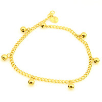 Wholesale Womens Anklets Charms - Wholesale-407-Free Shipping NEW 3.6mm 18k Yellow Gold Filled Jingle Bell Charm Womens Anklet Bracelet Ankle Curb Chain Fashion jewelry