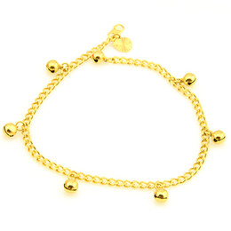 Wholesale Trendy Womens Bracelets - Wholesale-407-Free Shipping NEW 3.6mm 18k Yellow Gold Filled Jingle Bell Charm Womens Anklet Bracelet Ankle Curb Chain Fashion jewelry