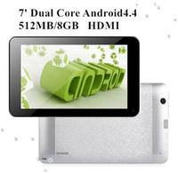 Wholesale A8 Tablet - 7 Inch Dual Core 8GB ROM Cortex A8 1.5GHz Android 4.4 Tablet PC 512MB RAM Dual Camera HDMI MQ50