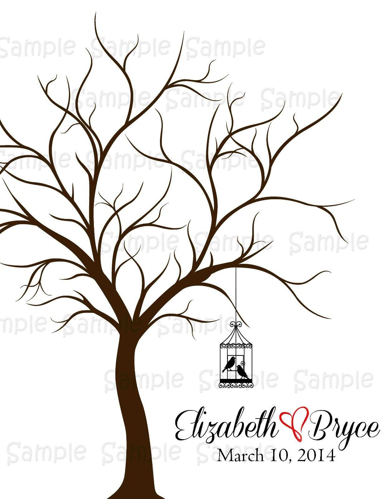 2018 wedding decoration wedding fingerprint tree guestbook
