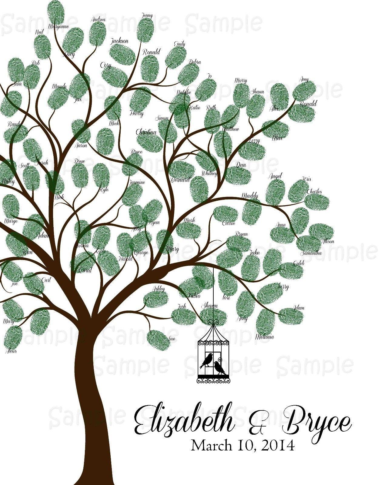2018 Fingerprint Wedding Tree, Wedding Decoration, Thumbprint Tree ...