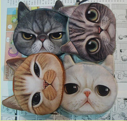 Wholesale Unisex Changing Bags - big face cat fashion Zipper Coin Wallet fashion coin purses cat change purse cute coin purse bag women wallets. women clutch
