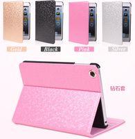 Wholesale Diamond Ipad Covers - For iPad Mini Mini2 Retina Luxury Bling Diamond Pattern Stand Flip Smart Leather Case Cover With Auto Sleep Wake UP
