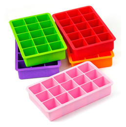 Wholesale Muffin Baking Pans - Silicone Ice Cube Tray Molds Candy Mold Cake Mold Chocolate Mold 15 Cavity Square Baking Mold Cake Pan Muffin