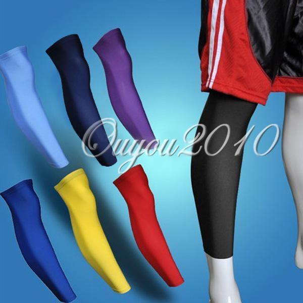 Wholesale-407-A Çifti Renkli Açık Spor Futbol Basketbol Bisiklet Strech Buzağı Bacak Dizlik Uyluk Cilt Kol Desteği Korumak Korumak