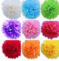 bloom packaging - 50pcs Inch Colors Tissue Paper Pom Poms Blooms Flower Balls Packaging For Party Decoration Wedding Christmas Ornament