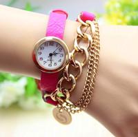 Wholesale Lovely Lady Belts - Drop Shipping Fashion Women Girls Ladies Graceful Lovely Metal Punk Chain Bracelet Watch Artificial Leather Quartz Wristwatches