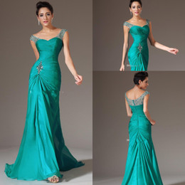 Wholesale Turquoise Coral Prom Dress - In Stock Mermaid V-neck Evening Dresses Floor Length Turquoise Chiffon Cap Sleeve Prom Dresses Beaded Pleats Prom Gowns Formal Dresses