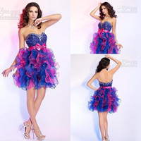 Wholesale Puffy Homecoming Strapless Dresses - Multi Color Rhinestone Colorful Puffy Short Mini Fashionable Graduation Graceful New arrival Party Dresses Prom Dress Homecoming Dresses