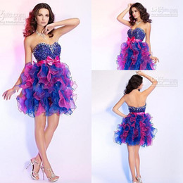 Wholesale Colorful Sequin Homecoming Dress - Multi Color Rhinestone Colorful Puffy Short Mini Fashionable Graduation Graceful New arrival Party Dresses Prom Dress Homecoming Dresses