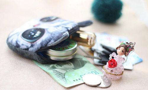 3d القط رئيس عملة محفظة محفظة الكرتون الحيوان القطيفة مواء بطاقات حامل حقيبة ماكياج التجميل حقيبة المرأة الطفل سستة حالة الحقيبة أكياس