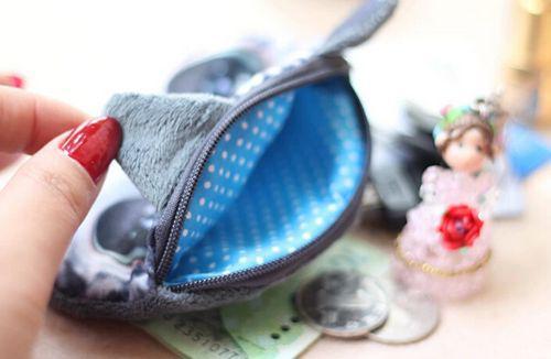 3d katt huvud mynt handväska plånbok tecknad djur plysch meow korthållare handväska kosmetiska sminkväska kvinnor barn dragkedja väskor