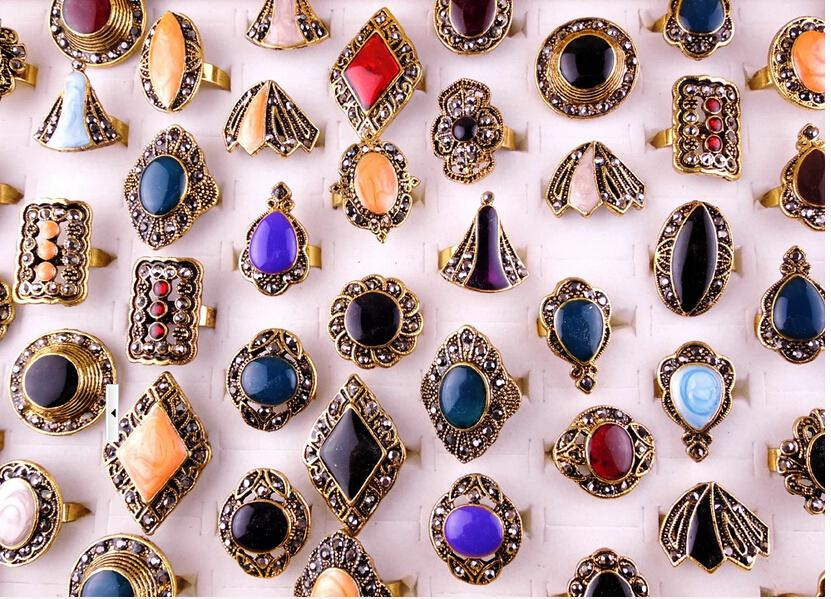 Anelli aperti regolabili dei monili di cristallo di modo lo stile RI7 del regalo / della miscela dei monili del mestiere Trasporto libero
