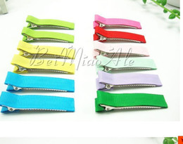 $enCountryForm.capitalKeyWord Canada - Wholesale 50mm DIY Partially Lined Double Prong Alligator Clips Grosgrain covered baby girls hair accessory clip - 100pcs