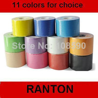 Wholesale Kinesio Tape Waterproof - Wholesale-407-Promotion !!!!! Free shipping Kinesio tape 50mm x 5m Waterproof Sports Safety Muscle Tape Kinesiology tape, 11 color for choic