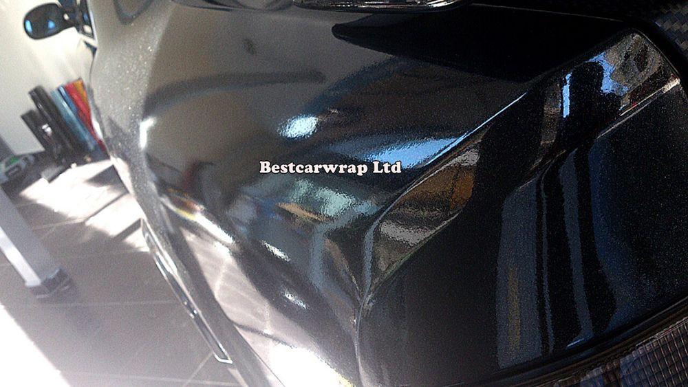 Nero lucido lucido glitter vinile metallizzato lucido pellicola da imballaggio auto con bolla d'aria formato libero 1.52x20 m / rotolo fedex spedizione gratuita