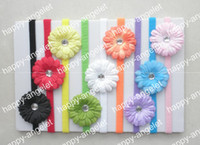 Wholesale Daisies Flowers For Headbands - 50 pcs Children baby skinny nylon headband with 2 inch daisy flower for girl hair accessories