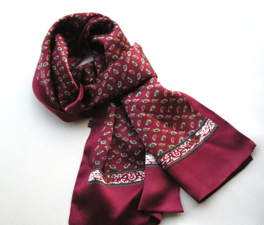 Mode sant silke crepe satin dubbel lager män print halsduk lång mulberry silke neckerchief liten cashew blommor stil
