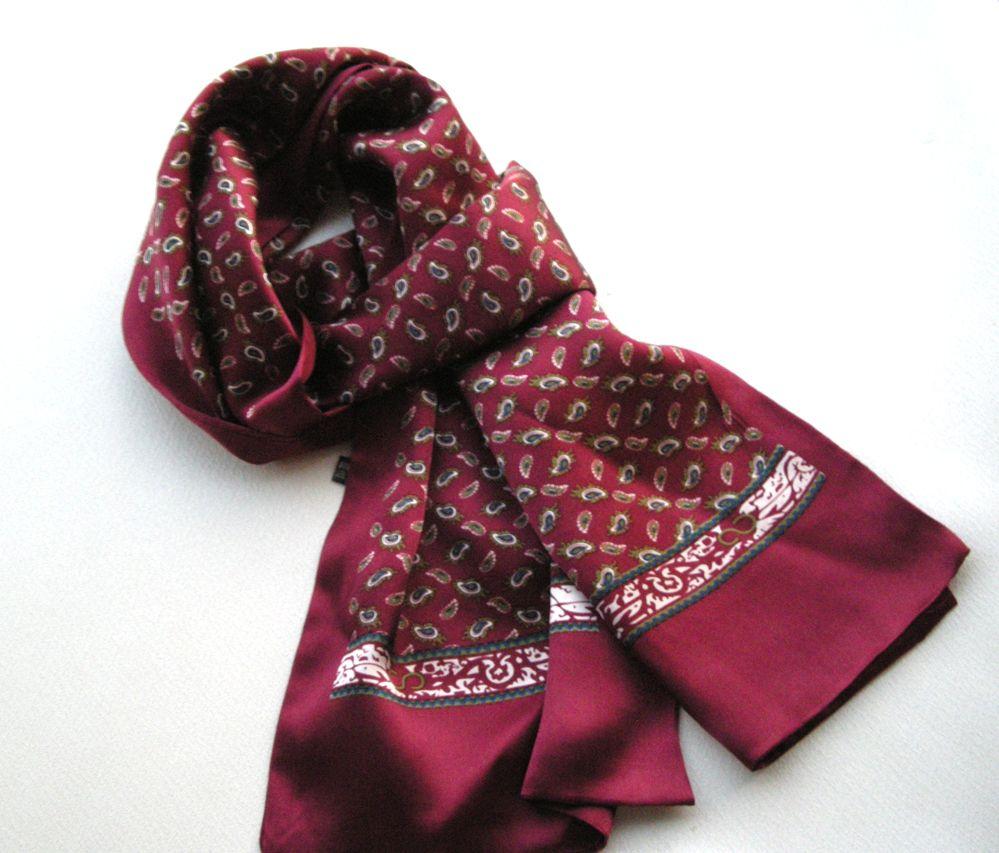 Sciarpa in vero raso di seta con doppio strato in vero raso di seta da uomo Sciarpa lunga in seta di gelso con fazzoletto stile fiori piccoli anacardi