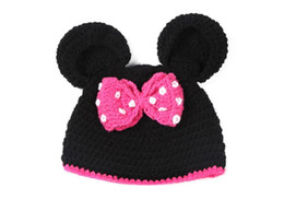 Wholesale Crochet Mouse - Lovely Kids Girls Handmade Crochet Knitted Hat Children Cartoon Miki Pattern Fashion Animal Mouse Head Beanie Cap 9pcs lot M0395