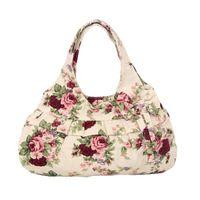 Wholesale Bowknot Handbags - S5Q Canvas Bag Floral Handbag Shoulder Bag Style Bowknot For Women's Ladies AAADON