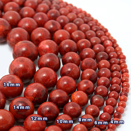 "Wholesale Natural Red Coral Jewelry - 5 Strands lot 4mm 6mm 8mm 10mm 15"" Natural Red Sea Coral Round Ball Beads Coral Pearl Gemstone Loose Beads Jewelry&DIY Accessoriesl"