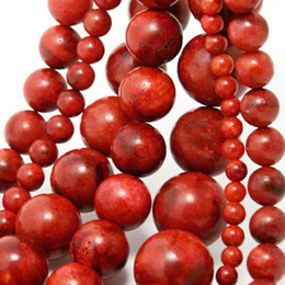 Wholesale Shell Pearl Loose - 12mm 14mm 16mm Red Sea Coral Round Ball Beads Coral Pearl Gemstone Loose Spacer Beads Jewelry&DIY Accessoriesl