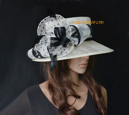 Wholesale Women Church Dresses - Cream black polka dot print Ladies Sinamay hat Formal Dress Hat for Kentucky Derby for Kentucky Derby,Melbourn Cup,Wedding,Ascot Races.
