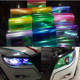 Wholesale Headlight Color Film - New 30*100cm with Change Color Shiny Chameleon headlights Taillights Translucent film lights sticker styling waterproof free shipping!