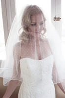 Wholesale Dotted Wedding Veils - New Arrival Custom Made Two Layers Bridal Veils Wrist Length Polka Dot Tulle Wedding Veils With Comb