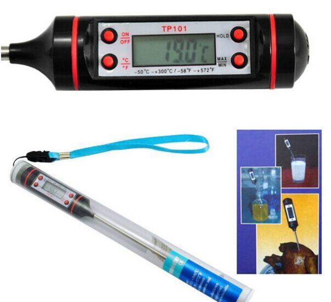 Cyfrowy gotowanie sondy żywności mięso gospodarstwa domowego termometr kuchnia w / bbq 4 przyciski 5 sztuk darmowa wysyłka
