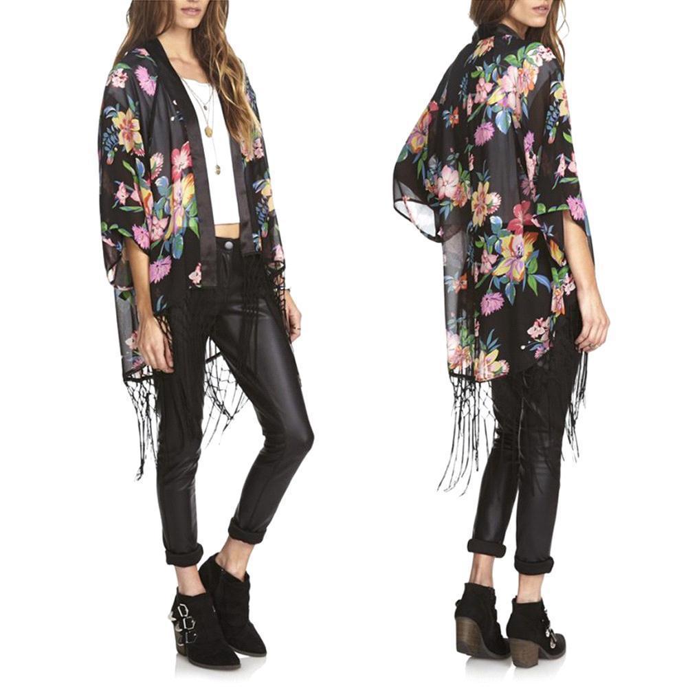 S5q Loose Kimono Cardigan Tassels Tops Ethnic Floral Tassels ...