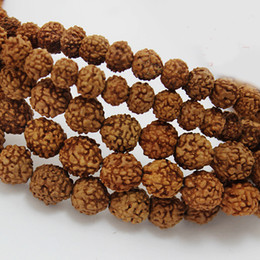 Wholesale Round Nuts - 500pcs lot 6mm 9mm Natural Rudraksha Buddha Bodhi Prayer Mala Loose Beads Brown nut wood Beads for Bracelet