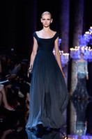 Wholesale Elie Saab Spaghetti V Neck - 2017 F W Elie Saab Haute Couture Elegant Navy Blue Cap Sleeve Long Chiffon Evening Dresses Women Gown Free Shipping WL228