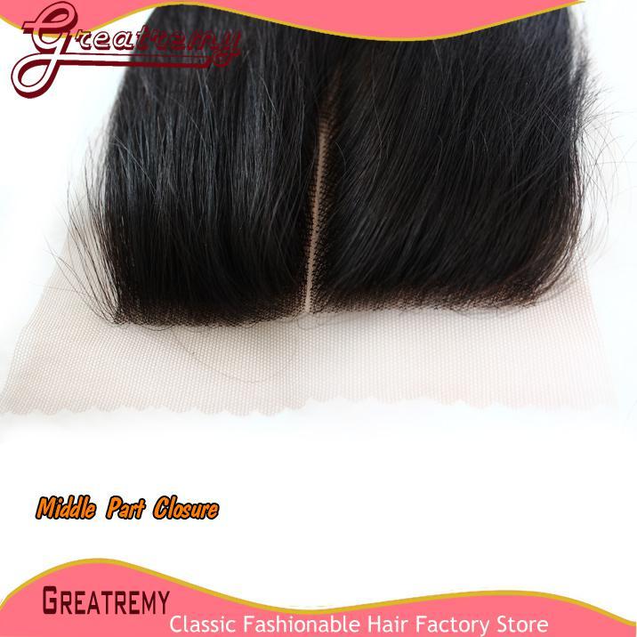 Greatremy Menselijk Haarbundels met Kantsluiting Straight 100% Menselijk Haarwiefje Weave Virgin HairClosure 4x4 Middle Part