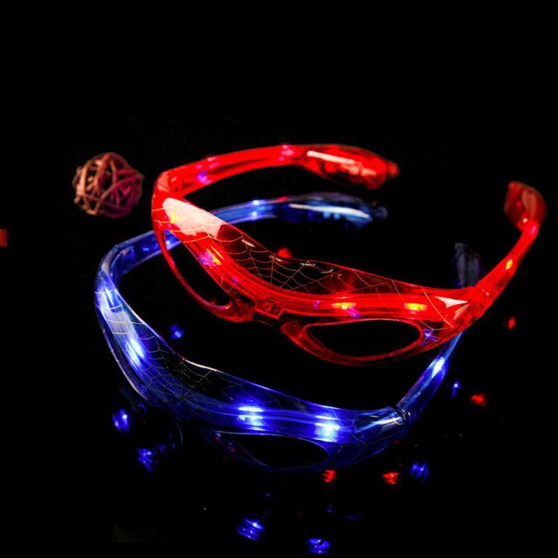 LED Spiderman Lunettes Lunettes Light Party Clignotant Glow Masque Lunettes de Noël Jours Halloween cadeau LED nouveauté Lunettes Led Rave Party Toy
