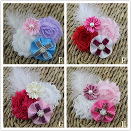 Wholesale Shabby Feather Baby Headbands - Vintage chic shabby flower head with Feather,Rhinestones, bow for baby girl headband,Hair accessory 80pcs lot