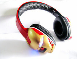 Wholesale Bluetooth Headset Pc Mobile - Iron man wireless Bluetooth Headphone For mobile Phone Tablet PC FM Bluetooth headset Bass Sports Headset Support TF Card