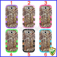 Wholesale Galaxy S4 Camo - Straw Grass camo Case Cover Triple Layer Plastic Silicon Shell Cover Tree Round Case For Samsung Galaxy S4 I9500 S3 I9300 Iphone 4 5 5S 4S