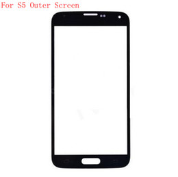 Samsung S5 Lens Canada - Front Outer Screen Glass Lens Digitizer Cover for Samsung Galaxy S5 i9600 Blue White Color