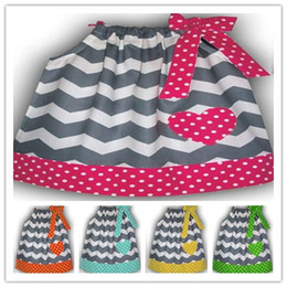 Wholesale Wholesale Chevron Girls Dress - For 0-6T Baby Girls Children Clothing Sleeveless Chevron Bowknot Dots Dress Kids Clothes Wave Stripe Dot Peach Tank Dresses 6pcs lot D2741
