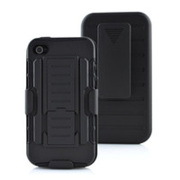 Wholesale Iphone 4s Belt Holster - For iphone 4 4S Future Armor Impact Hybrid Hard Case Cover + Belt Clip Holster Kickstand Holster Combo Stand iphone4